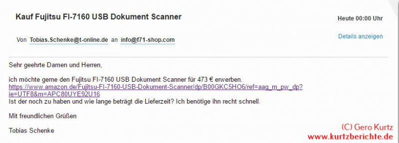 Betrug Amazon Marketplace Mail an den Betrüger